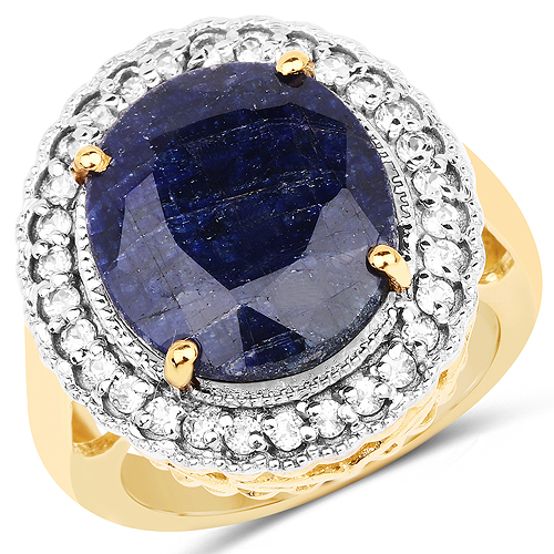 Sapphire-14K Yellow Gold Plated 8.59 Carat Dyed Sapphire and White Topaz .925 Sterling Silver Ring