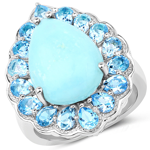 Rings-8.73 Carat Genuine Turquoise and Swiss Blue Topaz .925 Sterling Silver Ring