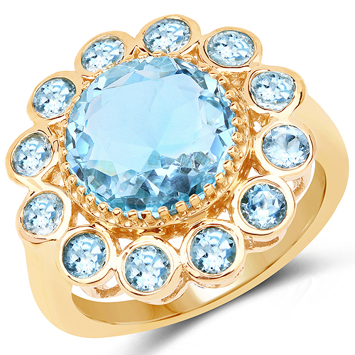 Rings-14K Yellow Gold Plated 6.59 Carat Genuine Blue Topaz .925 Sterling Silver Ring