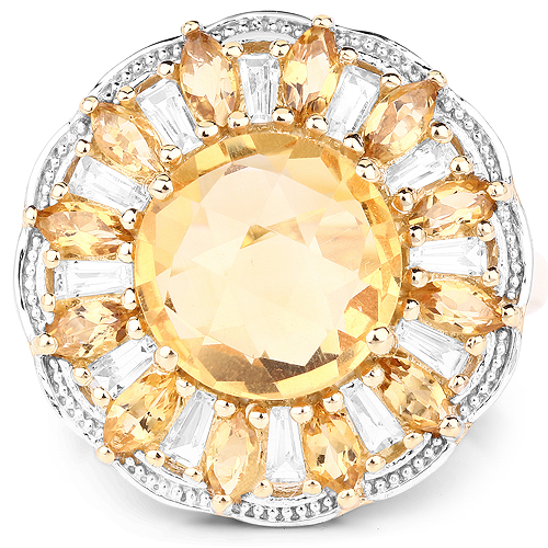 14K Yellow Gold Plated 4.89 Carat Genuine Citrine and White Topaz .925 Sterling Silver Ring