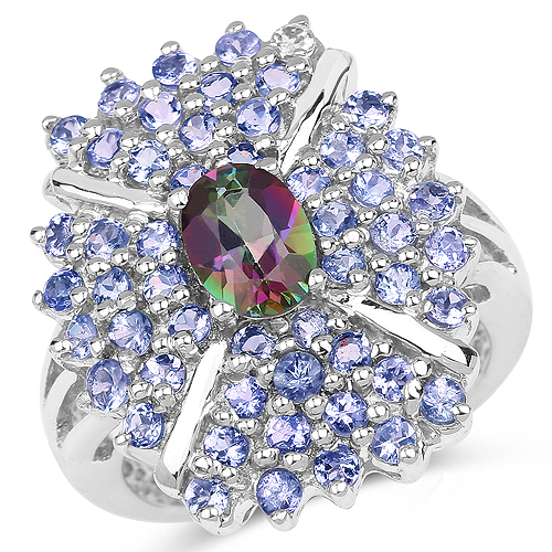 Mystic Topaz-2.86 Carat Genuine Mystic Topaz and Tanzanite .925 Sterling Silver Ring