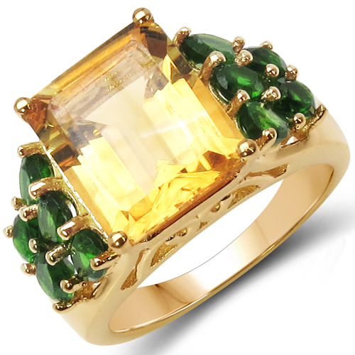 18K Yellow Gold Plated 6.85 Carat Genuine Citrine & Chrome Diopside .925 Sterling Silver Ring