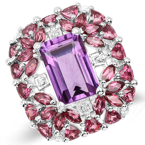 Amethyst-7.59 Carat Genuine Pink Amethyst, Rhodolite and White Topaz .925 Sterling Silver Ring