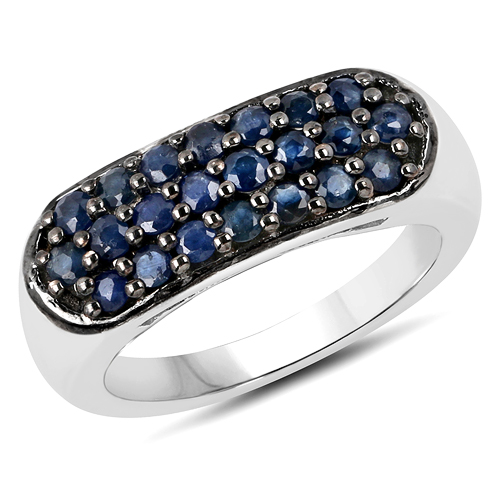 Sapphire-0.99 Carat Genuine Blue Sapphire .925 Sterling Silver Ring