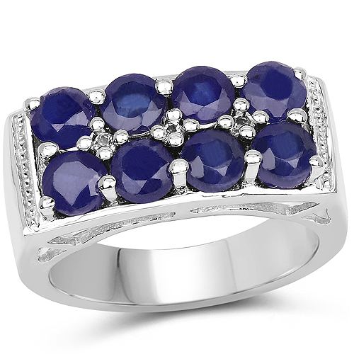 Sapphire-2.87 Carat Glass Filled Sapphire and White Topaz .925 Sterling Silver Ring