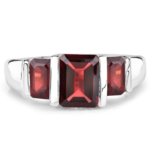 3.45 Carat Genuine Garnet .925 Sterling Silver Ring