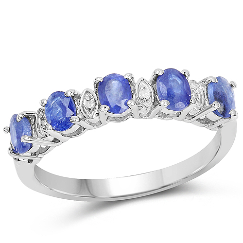 Sapphire-1.11 Carat Glass Filled Sapphire and White Diamond .925 Sterling Silver Ring
