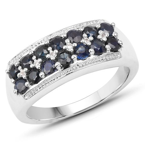 Sapphire-1.15 Carat Genuine Blue Sapphire & White Topaz .925 Sterling Silver Ring