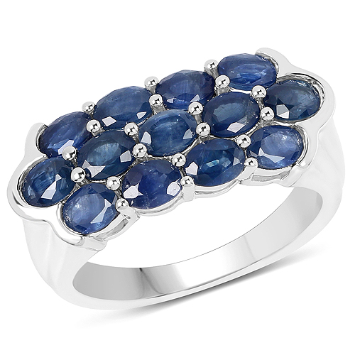 Sapphire-2.60 Carat Genuine Blue Sapphire .925 Sterling Silver Ring