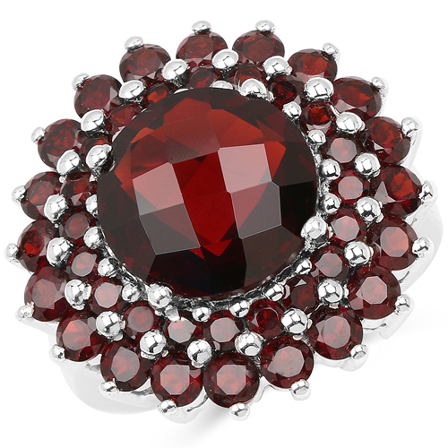 Garnet-10.10 Carat Genuine Garnet .925 Sterling Silver Ring