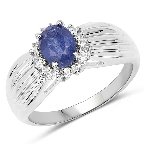 Sapphire-1.10 Carat Genuine Glass Filled Sapphire and White Topaz .925 Sterling Silver Ring