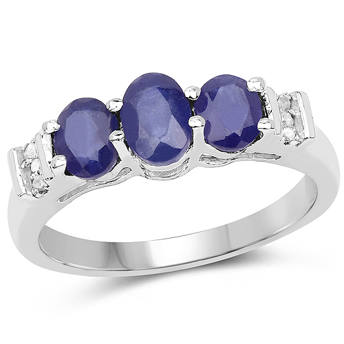 Sapphire-1.58 Carat Glass Filled Sapphire and White Diamond .925 Sterling Silver Ring