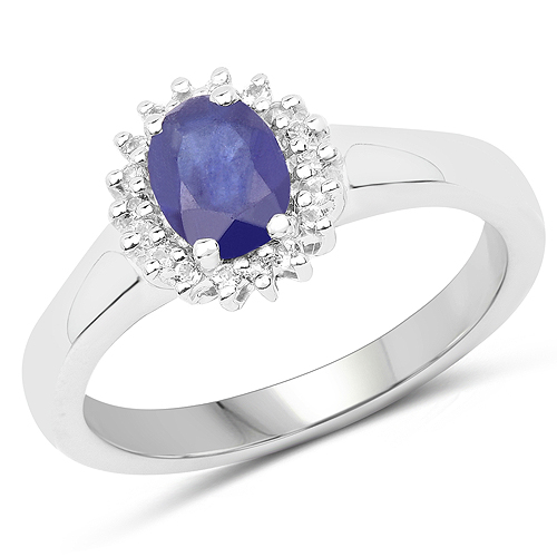 Sapphire-1.09 Carat Genuine Glass Filled Sapphire and White Topaz .925 Sterling Silver Ring