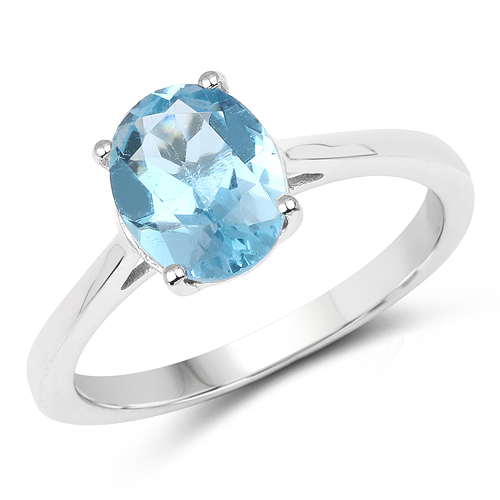 Rings-2.25 Carat Genuine London Blue Topaz .925 Sterling Silver Ring