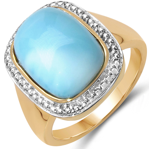 Rings-14K Yellow Gold Plated 8.35 Carat Genuine Larimar .925 Sterling Silver Ring