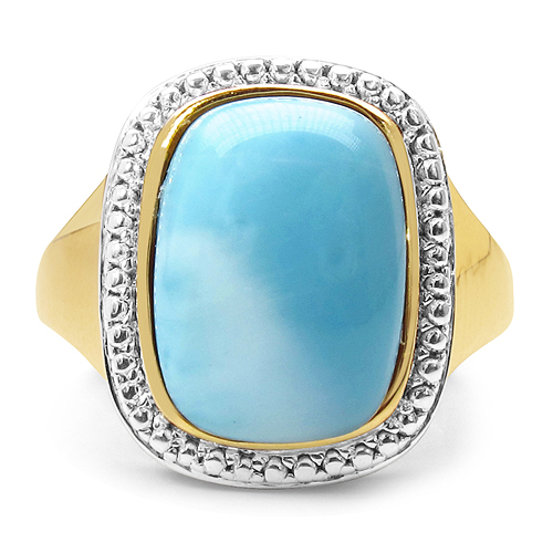 14K Yellow Gold Plated 8.35 Carat Genuine Larimar .925 Sterling Silver Ring