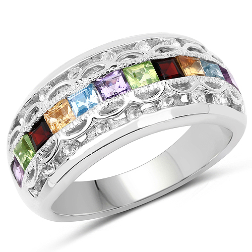 Amethyst-1.49 Carat Genuine Multi Stone .925 Sterling Silver Ring