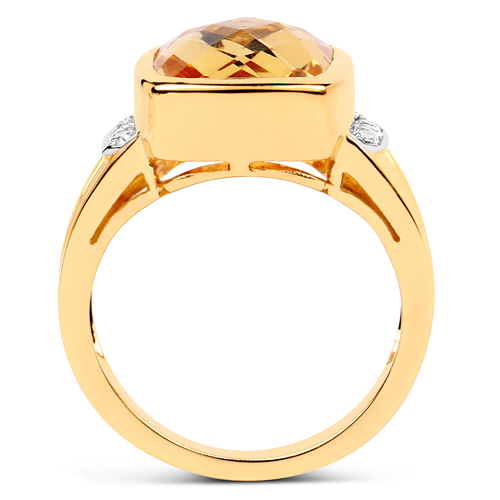 14K Yellow Gold Plated 3.99 Carat Genuine Golden Citrine & White Topaz .925 Sterling Silver Ring