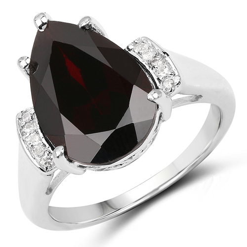 Garnet-5.65 Carat Genuine Garnet & White Topaz .925 Sterling Silver Ring