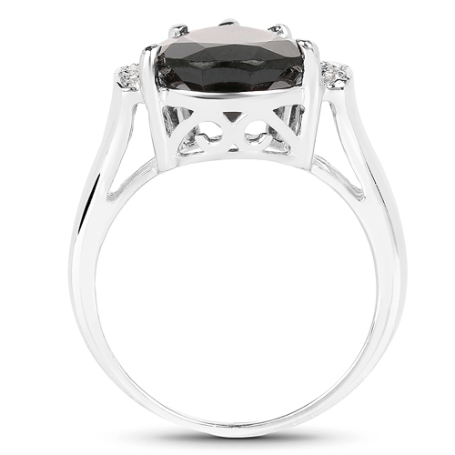 5.65 Carat Genuine Garnet & White Topaz .925 Sterling Silver Ring