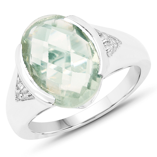 Amethyst-5.23 Carat Genuine Green Amethyst & White Topaz .925 Sterling Silver Ring