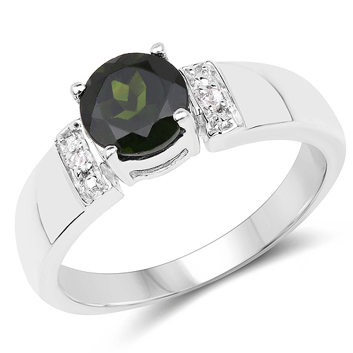 Rings-1.29 Carat Genuine Chrome Diopside and White Topaz .925 Sterling Silver Ring