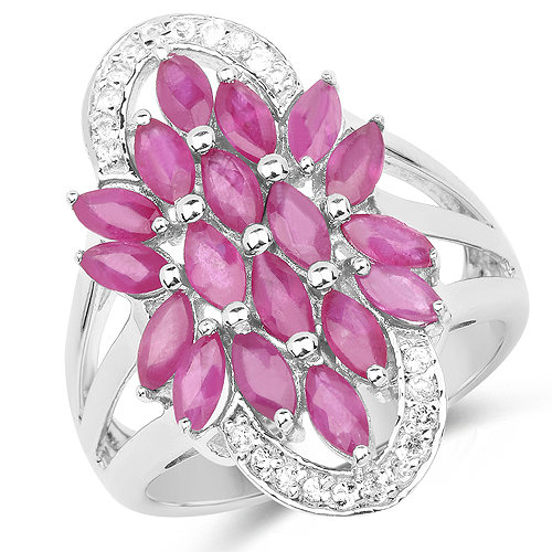 Ruby-2.74 Carat Genuine Ruby and White Topaz .925 Sterling Silver Ring