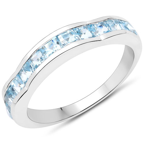 Rings-2.09 Carat Genuine Blue Topaz .925 Sterling Silver Ring