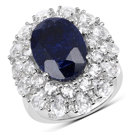 Sapphire-11.67 Carat Dyed Sapphire and White Topaz .925 Sterling Silver Ring