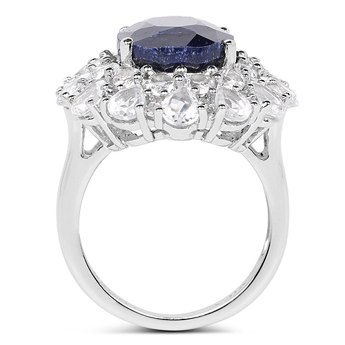11.67 Carat Dyed Sapphire and White Topaz .925 Sterling Silver Ring