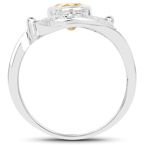 1.14 Carat Genuine Citrine and White Topaz .925 Sterling Silver Ring