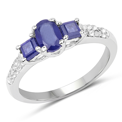 Sapphire-1.01 Carat Genuine Glass Filled Sapphire and White Topaz .925 Sterling Silver Ring