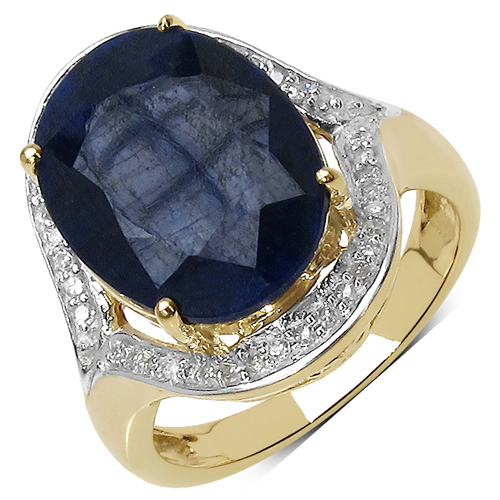 Sapphire-9.26 Carat Dyed Sapphire and White Diamond 10K Yellow Gold Ring