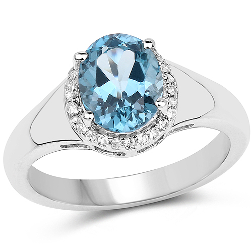 Rings-2.13 Carat Genuine London Blue Topaz and White Topaz .925 Sterling Silver Ring