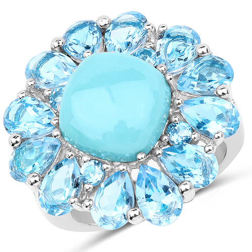Rings-9.50 Carat Genuine Turquoise and Swiss Blue Topaz .925 Sterling Silver Ring