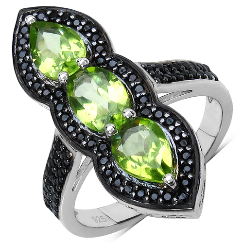 Peridot-2.87 Carat Genuine Peridot & Black Spinel .925 Sterling Silver Ring