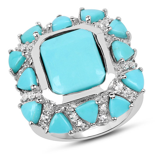 Rings-9.37 Carat Genuine Turquoise and White Topaz .925 Sterling Silver Ring