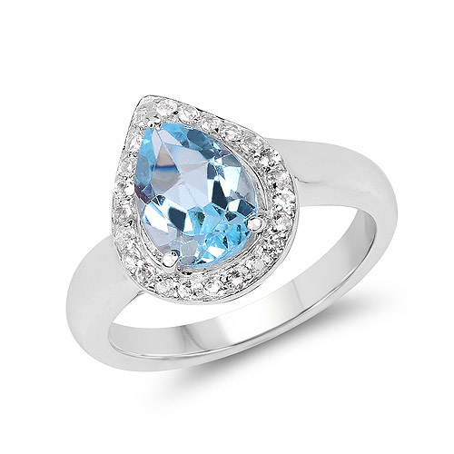 Rings-2.25 Carat Genuine Blue Topaz and White Topaz .925 Sterling Silver Ring
