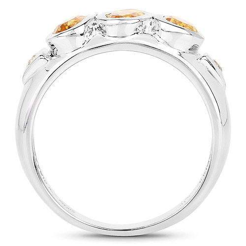 1.36 Carat Genuine Citrine and White Topaz .925 Sterling Silver Ring