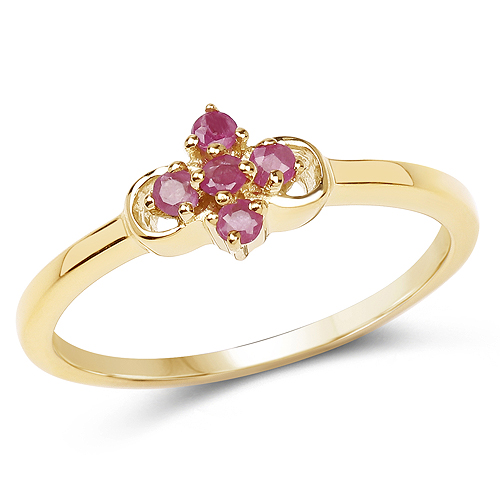 Ruby-14K Yellow Gold Plated 0.15 Carat Genuine Ruby .925 Sterling Silver Ring