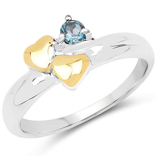 Rings-14K Yellow Gold Plated 0.14 Carat Genuine London Blue Topaz .925 Sterling Silver Ring