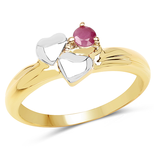 Ruby-Two Tone Plated 0.18 Carat Genuine Ruby .925 Sterling Silver Ring
