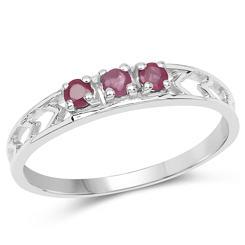 Ruby-0.26 Carat Genuine Ruby .925 Sterling Silver Ring