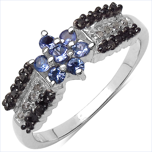 Tanzanite-0.40 Carat Genuine Tanzanite, Black Diamond & White Diamond .925 Sterling Silver Ring