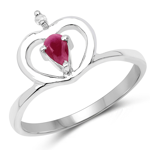 Ruby-0.27 Carat Genuine Ruby & White Diamond .925 Sterling Silver Ring