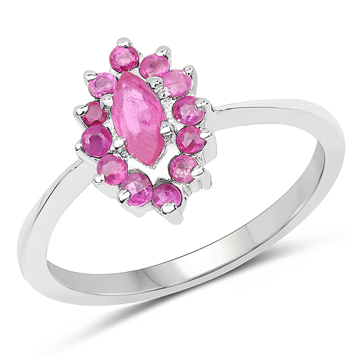 Ruby-0.62 Carat Genuine Ruby .925 Sterling Silver Ring