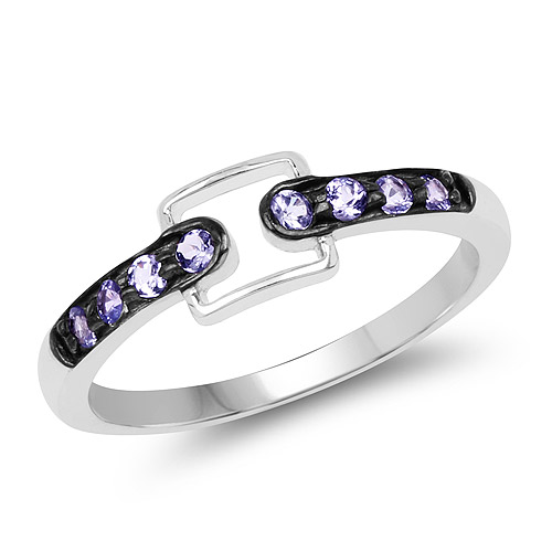 Tanzanite-0.20 Carat Genuine Tanzanite .925 Sterling Silver Ring