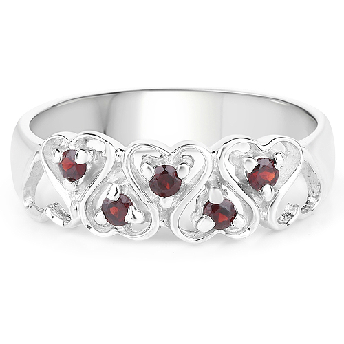 0.20 Carat Genuine Garnet .925 Sterling Silver Ring