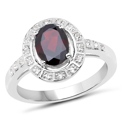 Garnet-1.70 Carat Genuine Garnet & White Topaz .925 Sterling Silver Ring