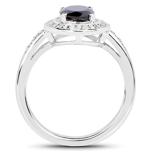 1.70 Carat Genuine Garnet & White Topaz .925 Sterling Silver Ring